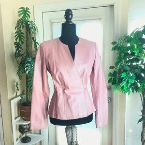 BCBG BCBGMaxAzaria Pink leather wrap tie jacket